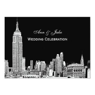 """El horizonte de NYC 01 DIY grabados al agua fuerte Invitación 5"""" X 7"""""""