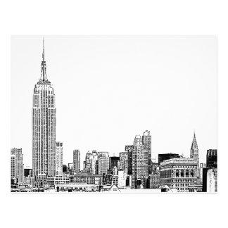 El horizonte de NYC grabó al agua fuerte 01 Plantillas De Membrete