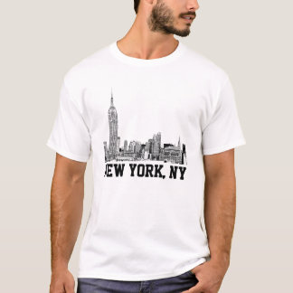 El horizonte de NYC grabó al agua fuerte 01 Playera
