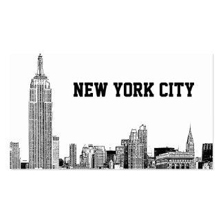 El horizonte de NYC grabó al agua fuerte 01 Tarjetas De Visita