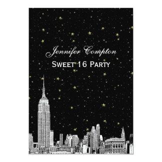 """El horizonte de NYC grabó al agua fuerte el dulce Invitación 5"""" X 7"""""""