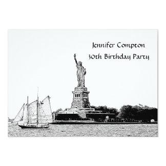 El horizonte de NYC grabó al agua fuerte el St de Invitación 12,7 X 17,8 Cm