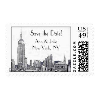 El horizonte de NYC grabó al agua fuerte la Sello Postal