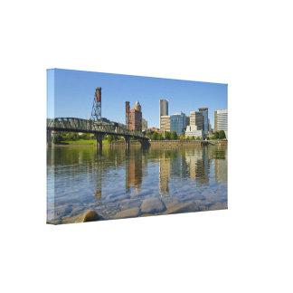 El horizonte de Portland Oregon estiró la impresió Lona Envuelta Para Galerías