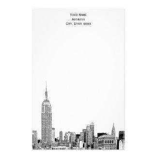 El horizonte del art déco NYC grabó al agua fuerte Papelería