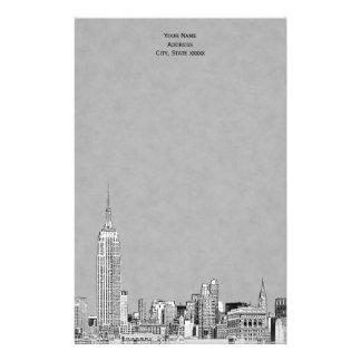 El horizonte gris de NYC grabó al agua fuerte los Papeleria De Diseño