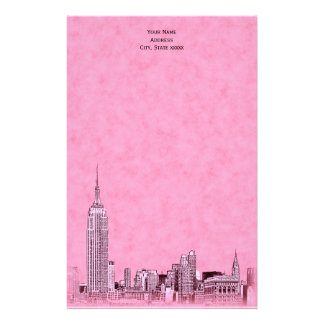 El horizonte rosado de NYC grabó al agua fuerte Papelería De Diseño