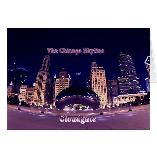 El horizonte y el Cloudgate de Chicago Tarjeta De Felicitación