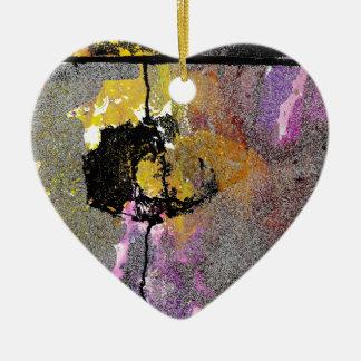 El hormigón agrieta serie adorno navideño de cerámica en forma de corazón