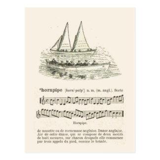 El hornpipe, la música y la descripción de los mar postal