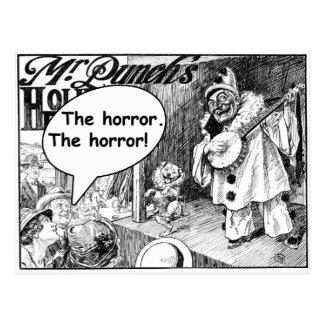 El horror (payaso malvado del banjo) tarjetas postales