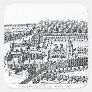 El hospital de Charterhouse, c.1720 Pegatina Cuadrada