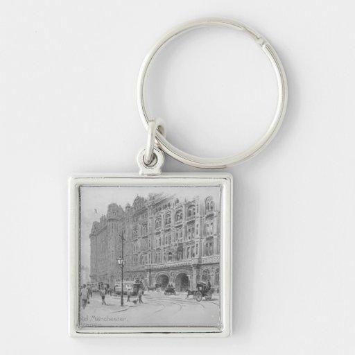 El hotel de Midland, Manchester, c.1910 Llavero Cuadrado Plateado