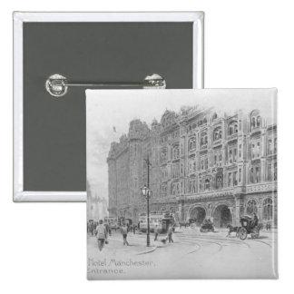 El hotel de Midland, Manchester, c.1910 Pin Cuadrado