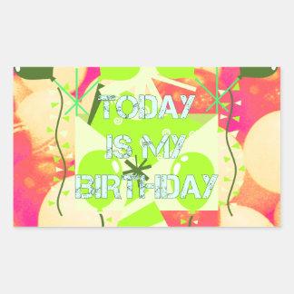 El hoy es mi cumpleaños pegatina rectangular