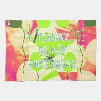 El hoy es mi cumpleaños toalla de mano