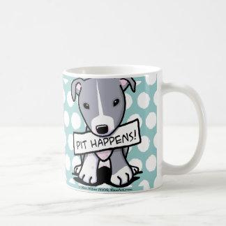 El hoyo sucede perro del pitbull taza básica blanca