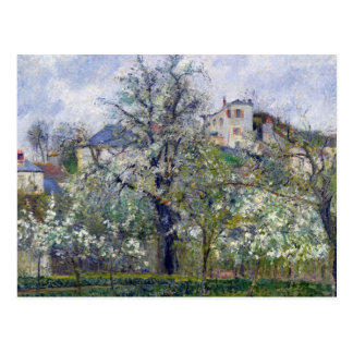 El huerto con los árboles en flor tarjeta postal