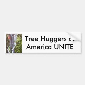 el hugger del árbol, árbol Huggers de América UNE Pegatina Para Auto
