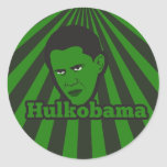 El Hulkobama enojado verde Pegatina Redonda