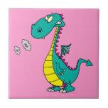 el humo que sopla del dragón lindo suena el dibujo teja cerámica