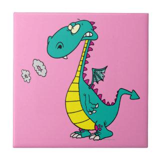 el humo que sopla del dragón lindo suena el dibujo azulejo cuadrado pequeño