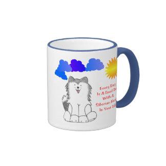 El husky siberiano cada día es una taza del buen d