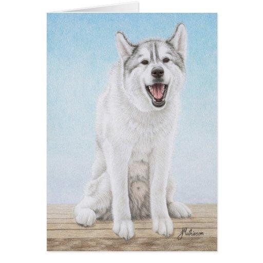 El husky siberiano corteja cortejar tarjeta de felicitación