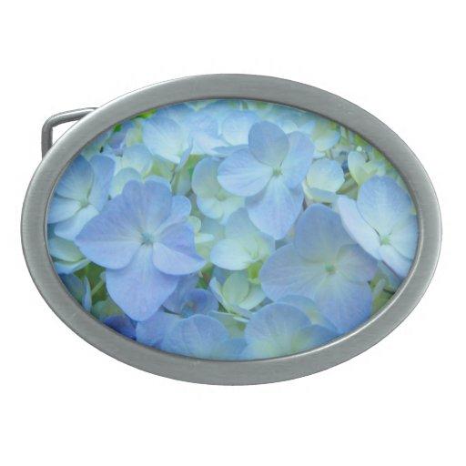 El Hydrangea azul de la hebilla del cinturón flore Hebillas De Cinturón Ovales