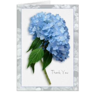 El Hydrangea azul del cielo en tronco le agradece Tarjeta Pequeña