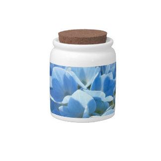 El Hydrangea azul del tarro del caramelo de las en Plato Para Caramelo