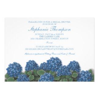 El Hydrangea azul florece la invitación nupcial de