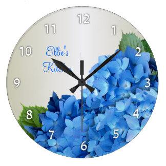 El Hydrangea azul personalizó el reloj de pared nu
