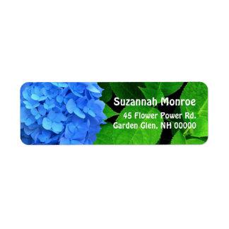 El Hydrangea azul sale de etiquetas de dirección