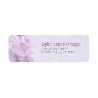 El Hydrangea en colores pastel florece etiquetas d Etiqueta De Remite