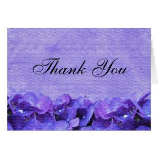 El Hydrangea púrpura le agradece tarjeta de nota