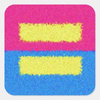 El igual endereza el logotipo, el estilo del pegatina cuadrada
