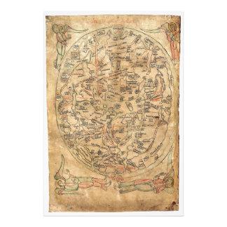 El Imago Mundi Honorius Augustodunensi del mapa de Cojinete