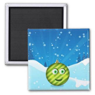 El imán adorable de la bola del navidad de Toon