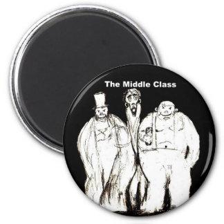 El imán redondo del refrigerador de la clase media
