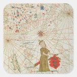 El imperio turco, de un atlas náutico, 1646 calcomania cuadradas personalizada