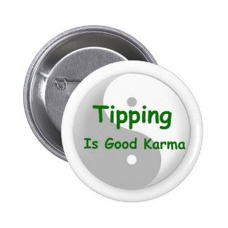 El inclinar es buen botón de las karmas pin redondo de 2 pulgadas