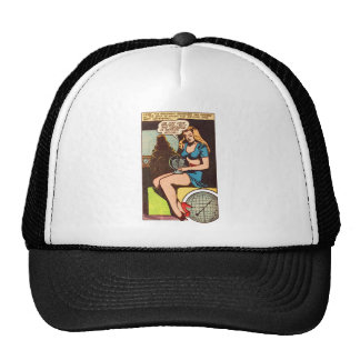 El indicador cómico del chica del vintage del kits gorra