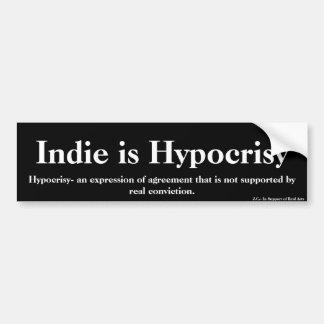 El indie es hipocresía pegatina para auto