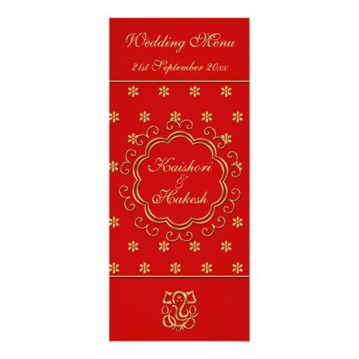 """El indio de la plantilla del menú del boda inspiró invitación 4"""" x 9.25"""""""