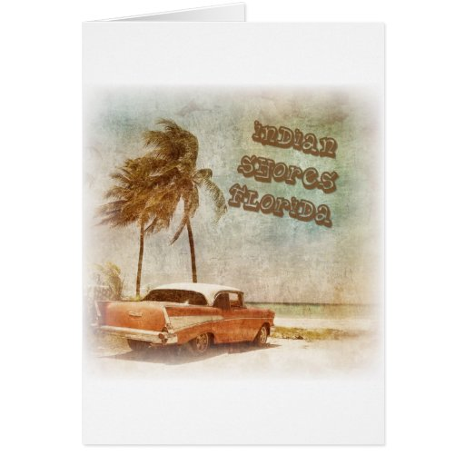 El indio del vintage apuntala escena de la playa tarjetas