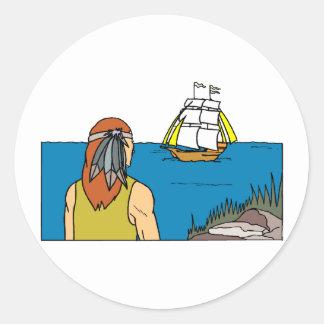 El indio mancha Mayflower Pegatina Redonda