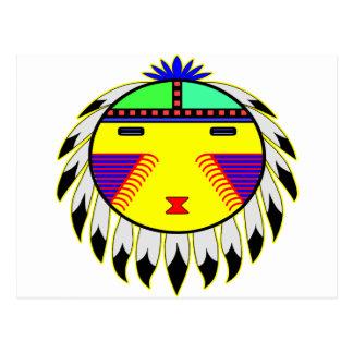 El indio Sun del nativo americano hace frente al t Postal