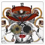 el individuo enrrollado del miedo del steampunk reloj cuadrado