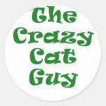El individuo loco del gato pegatina redonda